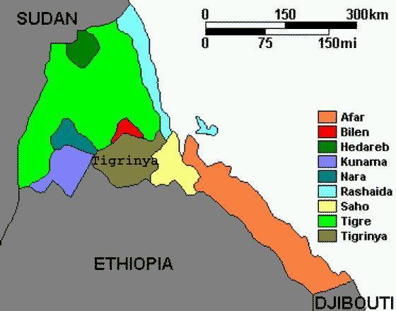 Map Of EthnicLinguistic Groups Of Eritrea - Eritrea map